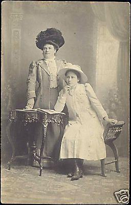 Proud Woman and Girl with Large HAT, Dress (1910) RPPC