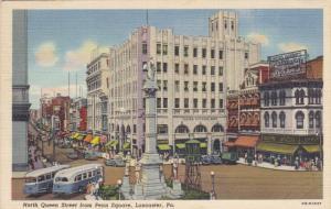LANCASTER, Pennsylvania, PU-1948; North Queen Street From Penn Square, Fulton...