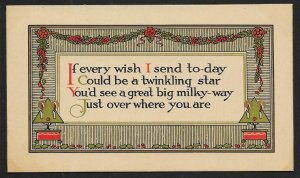 Best Wishes 'If Every Wish I Send Today...' Holly & Candles Unused c1910s
