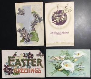 Unused Postcard (4) Easter Flowers LB