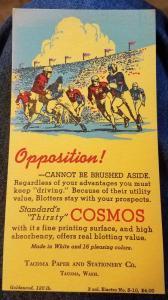 Vintage Tacoma Paper Stationery Tacoma, Wa. Ink Blotter Football