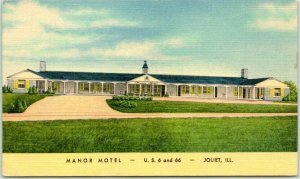 JOLIET, Illinois ROUTE 66 Roadside Postcard MANOR MOTEL Curteich Linen 1950s