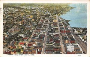 Duluth Minnesota~Aeroplane View~Downtown~Main Streets~Waterfront~1930 Postcard