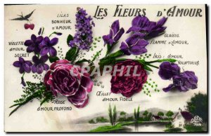 Old Postcard Fantasy Flowers Language of d & # 39amour