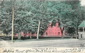 Morris Illinois~College Buildings~Gazebo~Dirt Road~1907 Postcard
