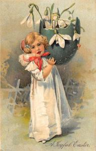 Joyful Easter Child With Egg Flowers Antique Postcard K78609
