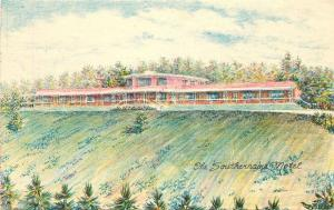 Crayon Gravure 1940s Hendersonville North Carolina Southernaire Motel 7197