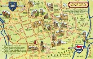 Oxford Map Postcard, Coat of Arms, University Coat of Arms, Street Map AZ6