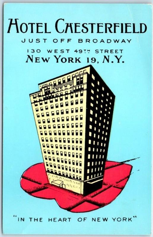 New York City Postcard HOTEL CHESTERFIELD Cool 1950s Graphics Lumitone Unused