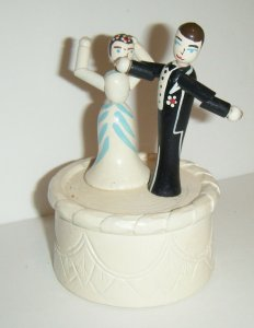 Vintage Push Button Puppet Bridge & Groom Wedding Couple On Cake Thumb Toy