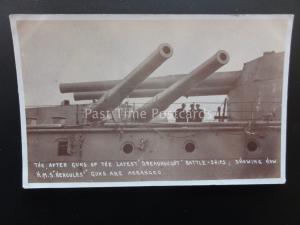 WW1 HMS HERCULES Royal Navy Dreadnought Battleship GUN ARRANGEMENT c1914 RP PC