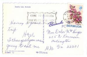 Country Lane Bermuda 1970 Chrome postcard Stamp