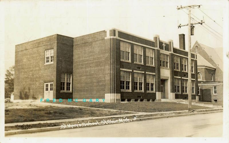 1940 Saint Clair Michigan Real Photo Postcard: Saint Mary's School - Rare!