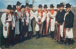 Postcard Eastern European folk Slovakian outfits types
