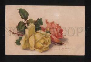 052407 Yellow & Pink ROSES Flowers by C. KLEIN vintage PC