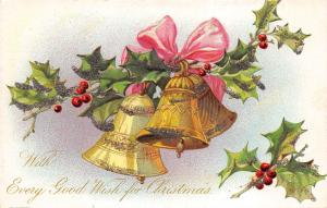 Every Good Wish For Christmas c1905 Postcard Bells By Raphael Tuck