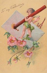 VALENTINE'S DAY, 1900-10s; Cupid sealing envelope, Pink Flowers, PFB 3315