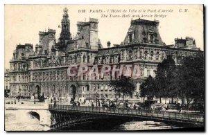 Old Postcard Paris Hotel de Ville and the Bridge of Arcola