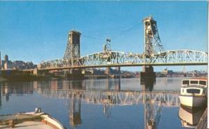 Dunn Memorial Bridge, Albany, N.Y. 1950s unused Postcard