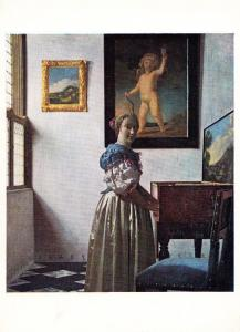 Vermeer A Young Woman Standing At A Virginal Rare Art Gallery Painting Postcard