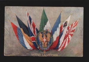 076653 WWI ITALY PROPAGANDA allies FLAGs Vintage PC