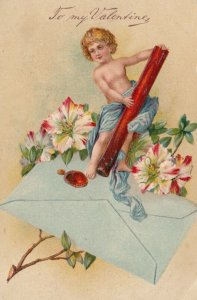 VALENTINE'S DAY, PU-1910; Cupid stamping wax seal on envelope, Flowers, PFB 8815
