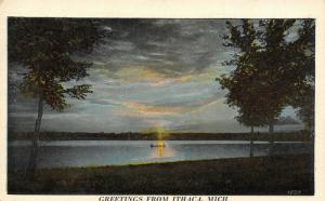 Ithaca Michigan~Sunset Reflects on Boat at Brady Creek~Trees on Bank~1928