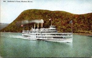 New York Hudson River Steamer Passing Anthony's Nose