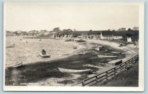 Postcard MA Cape Cod Chatham Mill Pond Boats Beach Shacks RPPC Photo c1920s C02