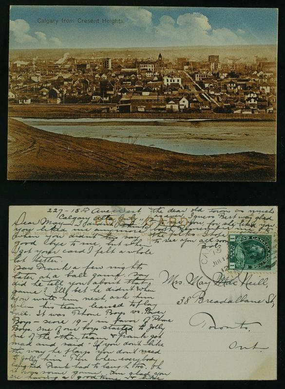 Calgary from Cresent Heights postmarked 1912