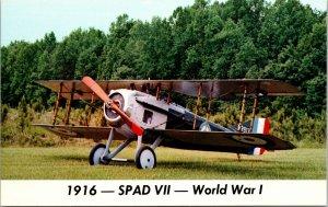 1916 SPAD VII WORLD WAR I AIRPLANE Color Chrome Postcard