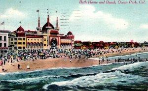 Ocean Park, California - The Bath House and Beach - in 1910