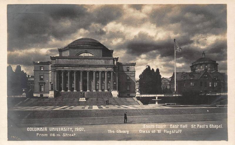 Columbia University The Library East Hall St Paul's Chapel Postcard
