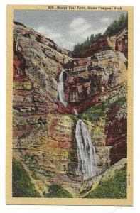 Bridal Veil Falls, Provo Canyon, Utah unused Curteich linen Postcard
