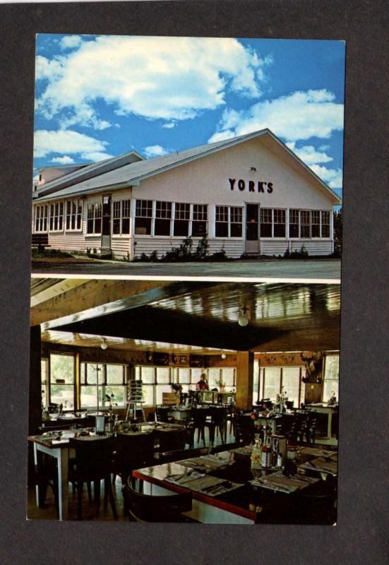 NB York's Dining Room Restaurant Andover New Brunswick Canada Carte Postale PC