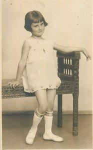 Postcard Social history young child girl 1931