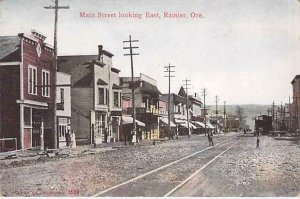 Main Street Looking East, Ranier, Oregon Vintage Unused Postcard