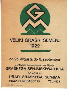 Veliki Graski Semenj 1922  Slovakia - Graz Austria Handbill