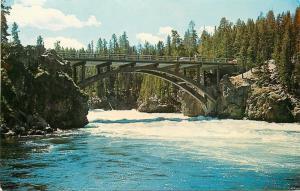 Yellowstone Park Wyoming~Picturesque Bridge~Yellowstone River~1950's Postcard