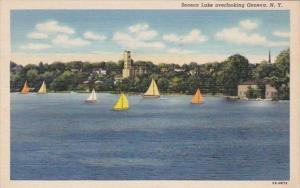 New York Seneca Lake Overlooking Geneva 1950 Curteich