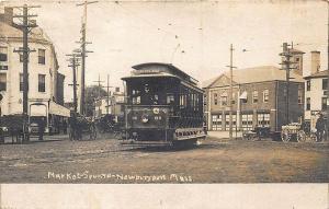 Newburyport MA Market Square Storefronts Trolley #68 RPPC Postcard
