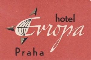 Czechoslovakia Praha Hotel Europa Vintage Luggage Label sk4386