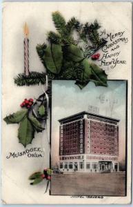 1912 Muskogee, Oklahoma Postcard HOTEL SEVERS Merry Christmas Hand-Colored
