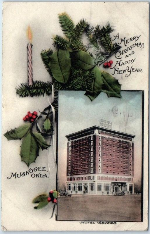 1912 Muskogee, Oklahoma Postcard HOTEL SEVERS Merry Christmas Hand-Colored