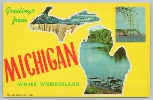 Michigan~Greetings From Michigan Water Wonderland~Standard Chrome Postcard