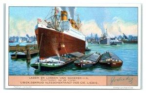 1932 Transhipment on River, Loading & Unloading Ships, Liebig Belgian Trade Card