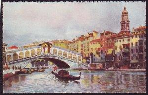 P1504 vintage art colorful unused venezia-ponte di rialto view venice italy