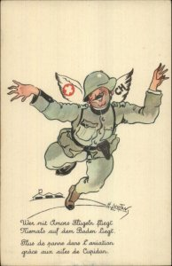 Anti-German WWII? Soldier Cupid Wings French Poem H. LOUTON Propaganda PC