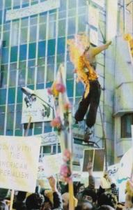 Iranian Revolutionaries Burning Effigy Of President Jimmy Carter Teheran Iran