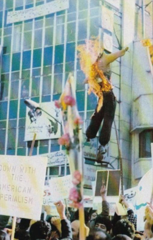 Iranian Revolutionaries Burning Effigy Of President Jimmy Carter Teheran Iran